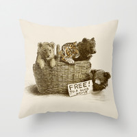 Lions and Tigers and Bears Throw Pillow by Eric Fan