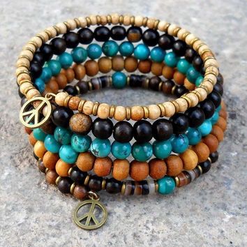 Genuine turquoise, ebony and sandalwood multistrand bangle