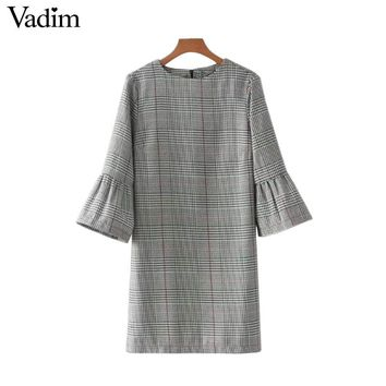 Women Vintage Flare Sleeve Hounds tooth Dress Basic Plaid Bell Sleeve Autumn Mini Dresses