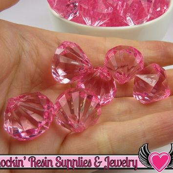 10 Cotton Candy Pink Bling Diamond Pendants Transparent Faceted Drops 22 x 20mm