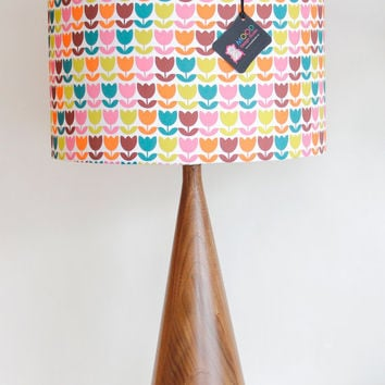 "Lamp Shade - 14"" Drum - Tulips - Pink Orange Green - Organic Cotton Sateen - Washer Top / Harp Fitting"