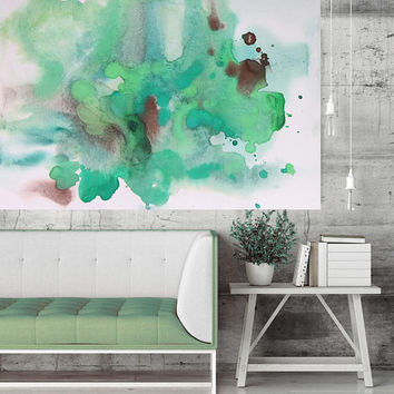 "Brown Green Summer Dream. Contemporary Abstract Green Aqua Canvas Art Print up to 72"", Extra Large Abstract Canvas Art Print by Irena Orlov"