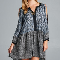 Mixed Print Tunic Dress - Black