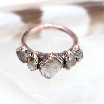 Raw Crystal Ring Quartz Crystal Ring Herkimer Diamond Ring Raw Crystals and Stones Natural Stone Jewelry Crystal Crown Ring Quartz Ring
