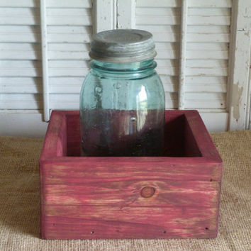 Wooden Box, Storage Box, Country Barn Decor, Barn Red Box, Wooden Planter Box, Living Room Decor, Shelf Decor