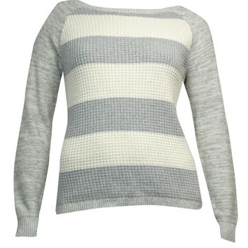 American Living Women's Striped Marled Raglan Sweater
