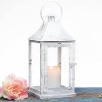 Outdoor Lantern - Shabby Cottage Chic Decoration Lantern - Snow White with Silver -  Wedding, Party, Holiday Decoration - OVS