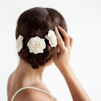 Ivory Rose Hair Pin Set of 3 - Bridal Rose Hair Piece Satin - Wedding Hair Accessories