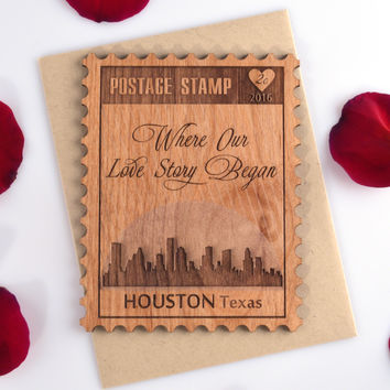 Valentine Day Mini Wood Card with Houston Cityscape - 5th Anniversary Gift - Letters D thru L