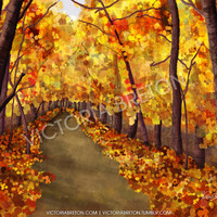 "Autumn Afternoon - 8"" x 10"" Digital Painting Print - autumn painting - painting of autumn leaves - fall print - orange print"
