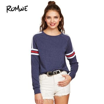 Women Sweatshirts Street wear Women Pullovers Spring Navy Heather Varsity Striped Raglan Sleeve Sweatshirt