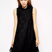 Lace And Mesh High-Neck Sleeveless Dress