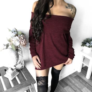 ONLY M/L LEFT - Kayleigh Off Shoulder Oversized Sweater (BURGUNDY)