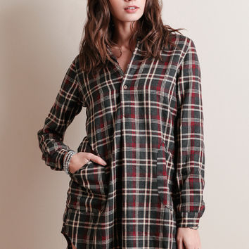 Outdoor Adventure Plaid Button-Up Dress