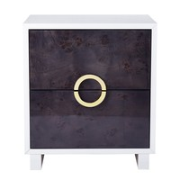 Cavalli Lacquer Grey Burl Side Table / Nightstand
