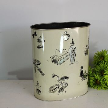 Vintage 1950s Trash Can by Harvell, Vanity Print in Gold And Black on Cream