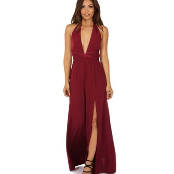 Burgundy A Little Deeper Halter Dress