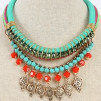 Beaded Aztec Double Rope Necklace | MakeMeChic.com