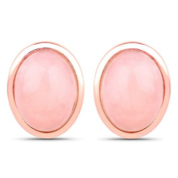 LoveHuang 1.35 Carats Genuine Pink Opal Oval Stud Earrings Solid .925 Sterling Silver With 18KT Rose Gold Plating