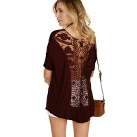 Burgundy Free As A Bird Dolman Top