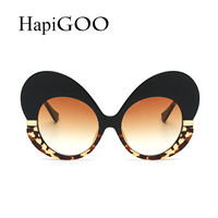 Fashion Female Butterfly Cat Eye Vintage Mirror Sunglasses Women Designer Big Frame Lady Gradient sunglasses