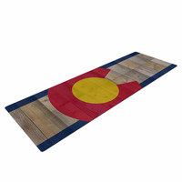 """Bruce Stanfield """"Flag of Colorado"""" Blue Red Yoga Mat"""