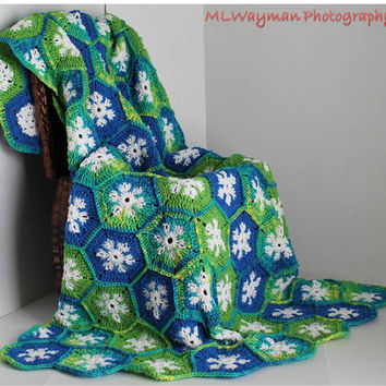 Afghan- Handmade Hexagon Crochet Blanket - Blues and Greens