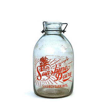 Vintage Gallon Milk Bottle Sunshine Dairy Sheboygan Wisconsin