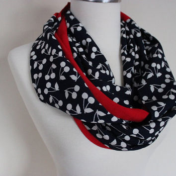 Black Red Scarf, Cherry Print Scarf, Cute Women Scarf, Cherry Pattern Scarf, Red Scarf, Printed Scarves, Gift For Her, Scarf Angel, For Her