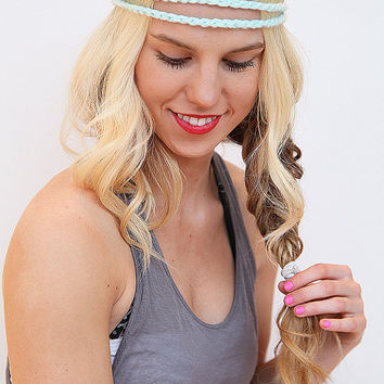Mint Braided Hair Band Crochet Stretch Headband Yarn Headwrap