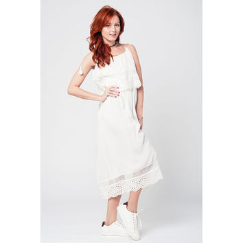 White double-layered mid-leg dress with crochet detail