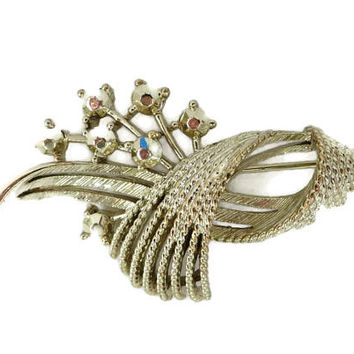 Lisner Goldtone Rhinestone Brooch, Vintage Flowering Leaf Pin Costume Jewelry Estate Gift Idea