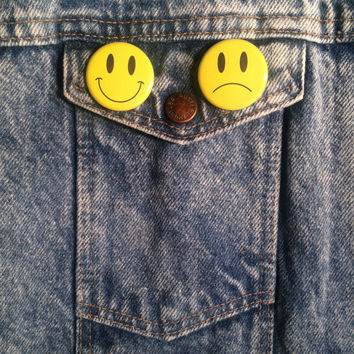 Happy Face / Unhappy Face Pinback Button Pin Badge Set Of 2 1.25 Inch Handmade New Smiley Frowny Sad Face Emoji Movement Pinback Buttons