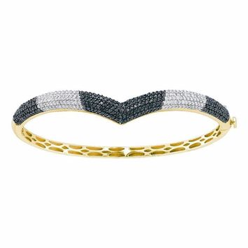 14kt Yellow Gold Women's Round Black Color Enhanced Diamond Bangle Bracelet 1-3-4 Cttw - FREE Shipping (US/CAN)