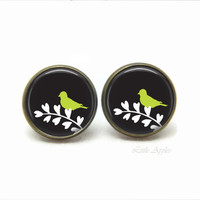 black glass dome ear post, green bird silhouette on branch studs