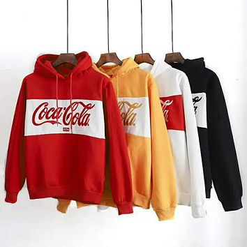 Coca-Cola x KITH co-branded classic embroidery logo men and women hooded sweater F-CN-CFPFGYS