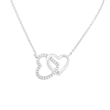 Sterling Silver Cz Interlocking Hearts Necklace 18""