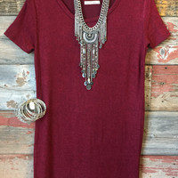 Make You Remember Tunic Dress: Burgundy