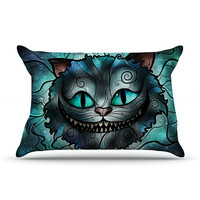 "Mandie Manzano ""Mad Chesire"" Teal Cat Pillow Case"