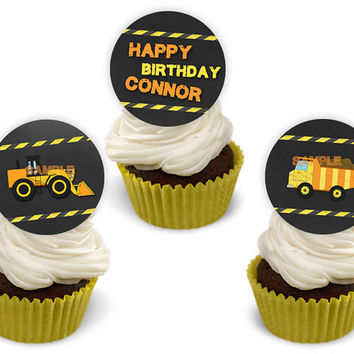 Personalized Construction Birthday Cupcake Toppers - Chalk Dump Truck Cupcake Toppers - Boy Birthday - Construction Site Party Ideas Yellow