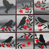 red black white grey gray home wall paintings painting art bird birds flowers flower blossom modern tiny small present gift original unique