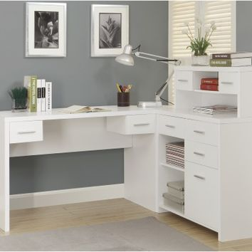 Monarch Hollow-Core L-Shaped Home Office Desk - White | www.hayneedle.com