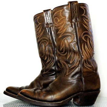 Vintage 70s Dan Post Boots / mens 6.5 D womens 8.5 D / brown leather cowboy boots / Dan Post western boots / made in Spain