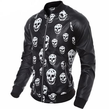 Faux Leather Skull Jacket Men Motorcycle Jacket