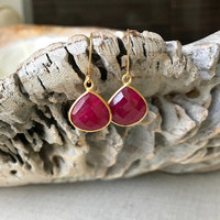 Ruby Earrings, gold Ruby Earrings, Gold Ruby Bezel Earrings, Ruby Bezel Earrings, Gold Ruby Bezel, Ruby Bezel, Ruby