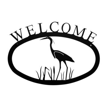 Wrought Iron Small Heron Welcome Home Sign Small