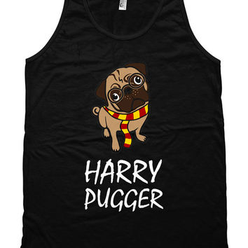 Funny Dog Tank Harry Pugger Wizard Movie Parody Pug Top Dog Lover Gift Pug Gifts American Apparel Tanks For Her Ladies Unisex Tank WT-321