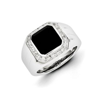 Diamond & Black Onyx Octagon 16mm Tapered Ring in Sterling Silver