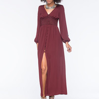 Fire Button Front Maxi Dress Burgundy  In Sizes