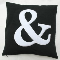 Ampersand throw pillow 16 inch black and white and cushion cover